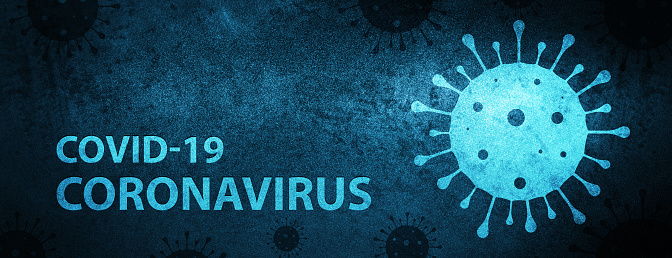 Corona Virus Covid-19 Virus icon Isolated on Special Blue Banner Background